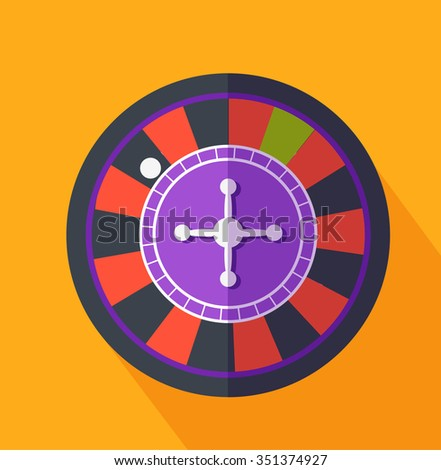 Roulette flat design on background. Casino and roulette wheel, gambling luck, fortune and bet, risk and leisure, jackpot chance, gamble round illustration - stock vector