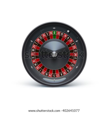 roulette isolated on white realistic casino object - stock vector