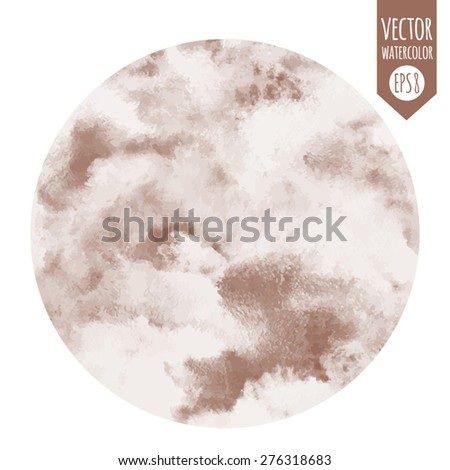 Round abstract vector watercolor background. Circle shape. Cloudy or whipped cream with chocolate, coffee texture. Shades of white and brown. Painted backdrop. Sweet, confectionery backdrop. - stock vector