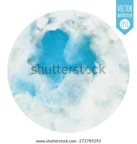 Round abstract watercolor vector background. Piece of heaven surrounded by clouds. Circle shape. Blue sky, shades of white. Painted backdrop. Fresco imitation.  - stock vector