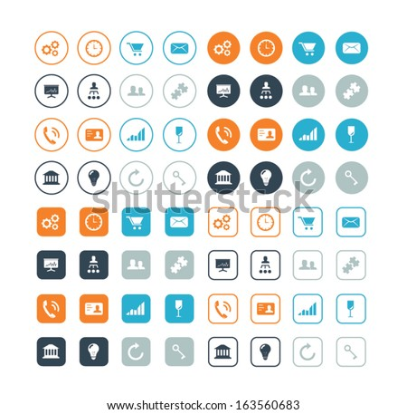 Round and circle business and strategy vector icons eps10 - stock vector