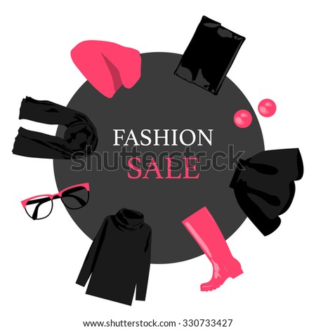 Round banner sales women's clothing. Fashionable collection: hat, sweater, scarf, handbag, high boots.  - stock vector