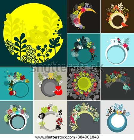 Round banners set. Vector background for your message with floral elements and wild life. - stock vector
