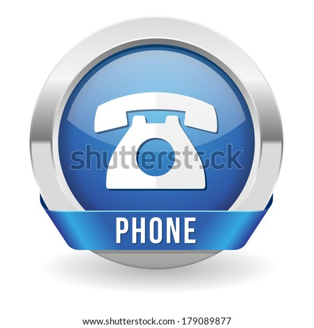 Round blue phone button with ribbon and metallic border - stock vector