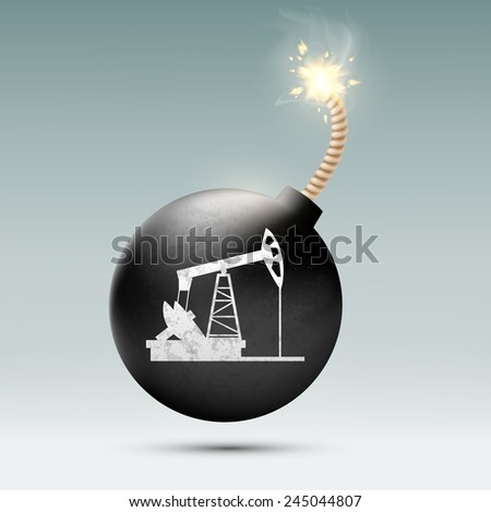 round bomb with a fuse and a picture of a pump for oil - stock vector