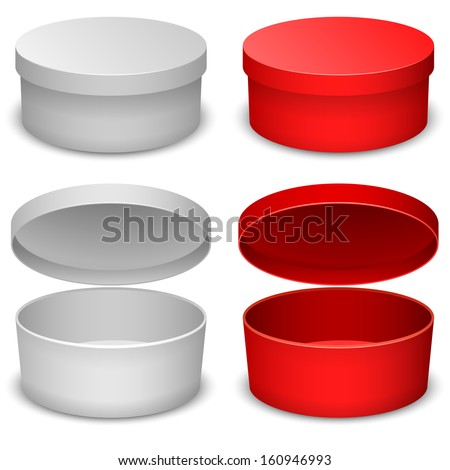 Round box vector template isolated on white background in white and red variant. - stock vector
