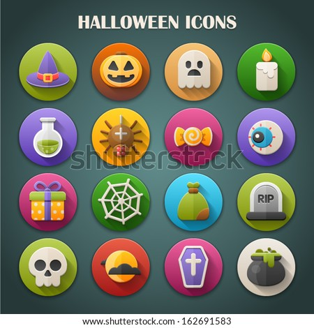 Round Bright Icons with Long Shadow: Halloween - stock vector