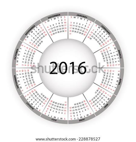 Round calendar for 2016 year. Vector EPS10. - stock vector