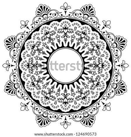 Round calligraphic border design element with a central circular blank area for your text surrounded by a double layer of bold floral motifs, eps8 vector - stock vector