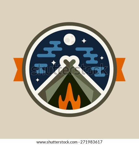 Round camping tent badge icon with night sky - stock vector