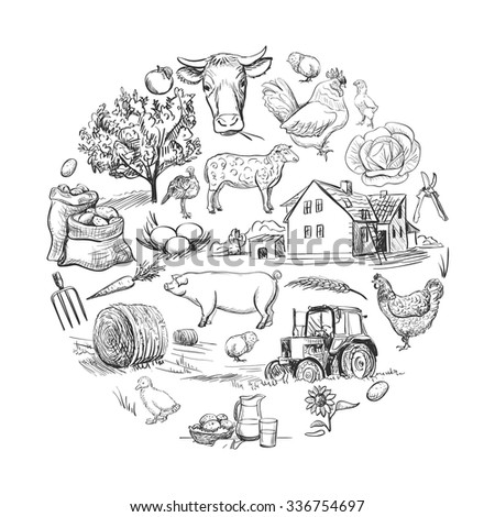 Round card with farm related items with cow, goat, pig, chicken, rooster, horse, turkey, tractor, rakes, sunflowers, cabbage, carrots, eggs, milk, haystack - stock vector
