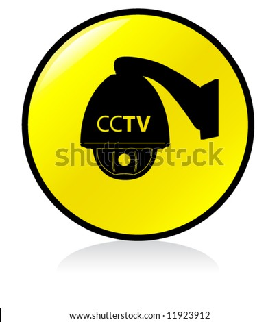 round CCTV sign speed dome - YELLOW version - stock vector