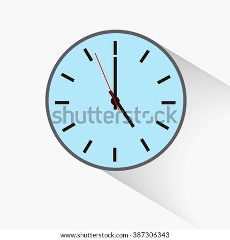 round clock , five o'clock - stock vector