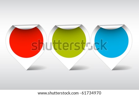 Round colorful empty labels, stickers, pointers - stock vector