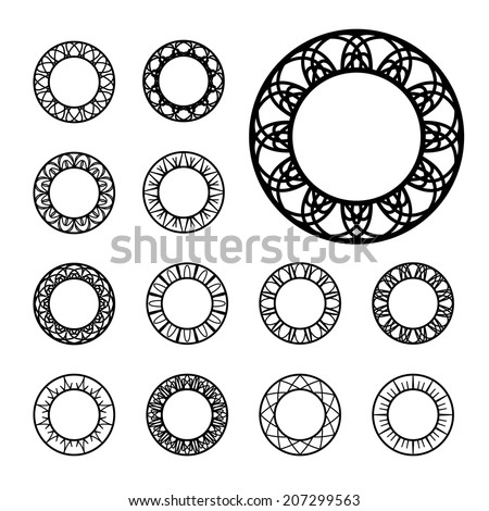 Round decoration ornament set. Vector frames collection - stock vector