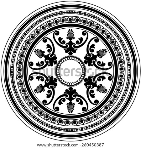 Round decorative black ornament isolated on white background. Vector illustration - stock vector