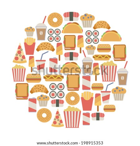 round design element with fast food icons - stock vector