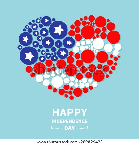 Round dot heart flag. Stars and stripes. Happy independence day. United States of America. 4th of July. Flat design  Vector illustration - stock vector