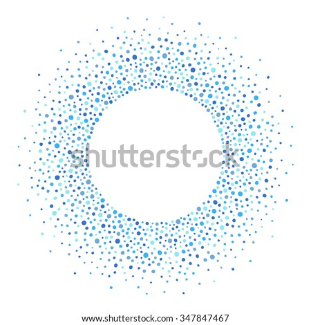 Round dots frame with empty space for your text. Frame made of blue spots or dots of various size. Circle shape. Shades of blue abstract background. - stock vector