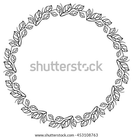 Round elegant frame with leaves. Design element for advertisements, logo, banners, labels, prints, posters, web, presentation, invitations, weddings, greeting cards, albums. Vector clip art. - stock vector