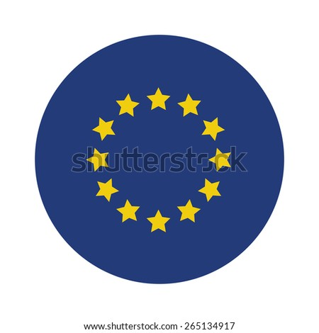 Round european union flag vector icon isolated, european union flag button - stock vector