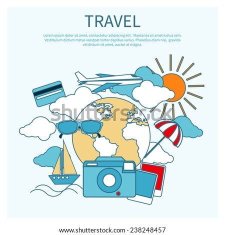 Round flat conceptual illustration of international business travel by airplane. Tourist icons around the planet - stock vector