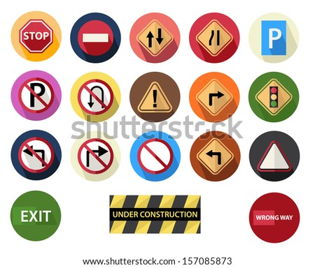 round flat icons set 4 traffic sign - stock vector