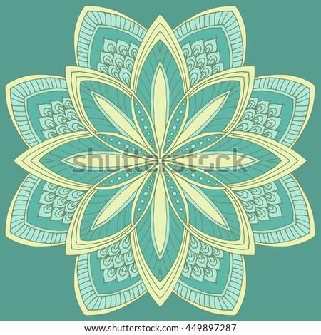 Round floral ornament pattern. Decorative element. Hand drawn mandala background. - stock vector