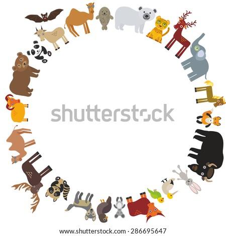 round frame. animal card template. bison bat fox wolf elk horse camel partridge fur seal Walrus goats Polar bear Eagle bull raccoon panda leopard Brown bear deer gannet elephant. Vector - stock vector