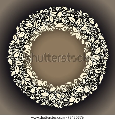 round frame from floral pattern in vintage style - stock vector