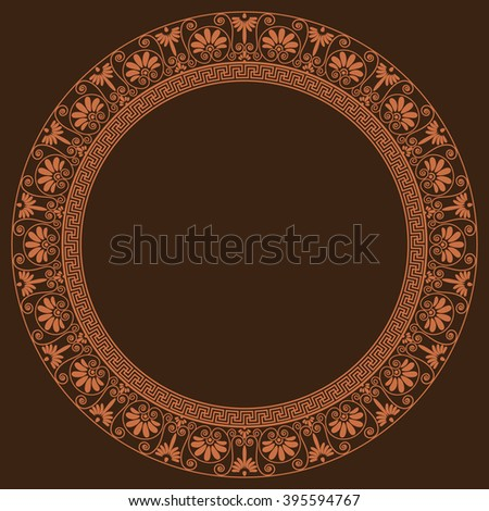 Round frame. Greek traditional borders. In golden color isolated on dark brown background.  Vector illustrations. Can use for your text or photo, as plate design - stock vector