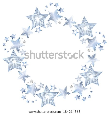 Round frame made of shiny metal stars - stock vector