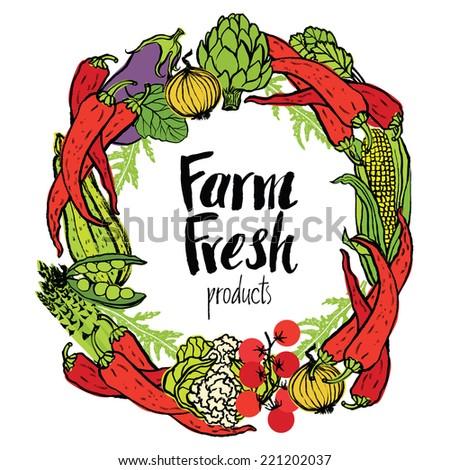 Round frame of fresh vegetables - stock vector