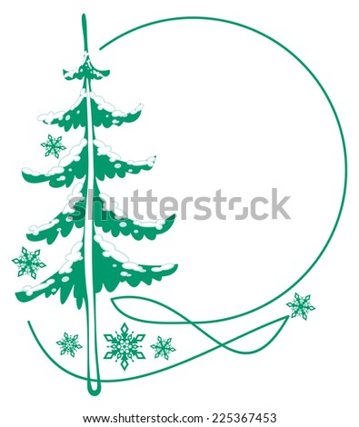 Round frame with a pine tree - stock vector