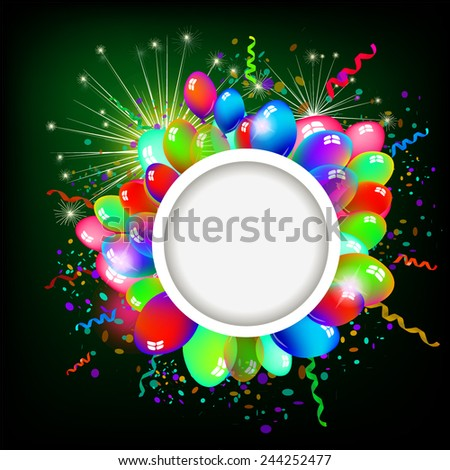 Round frame with balloons. Vector - stock vector