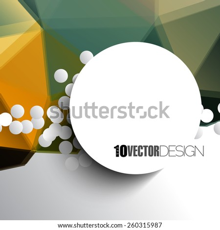round frame with blank space on multicolored geometric triangular background. eps10 vector - stock vector
