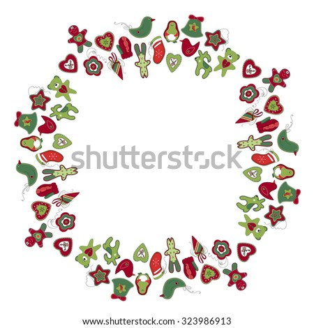 Round frame with different vintage Christmas decorations. Wreath for your design, Christmas announcements, greeting cards, posters. - stock vector