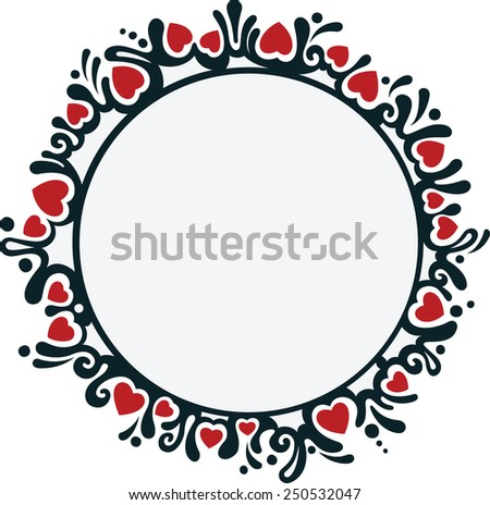 Round frame with hearts - stock vector