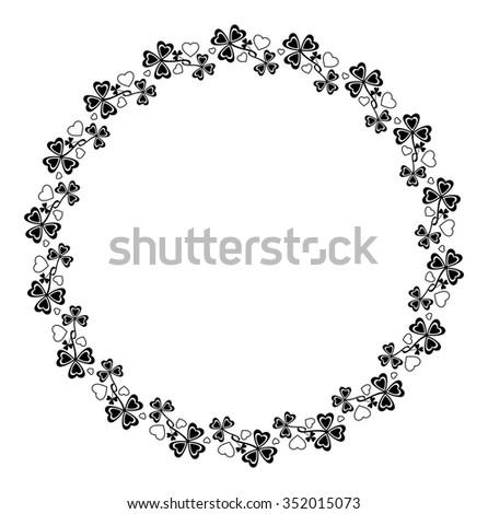 Round frame with shamrocks - stock vector
