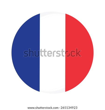 Round france flag vector icon isolated, france flag button - stock vector