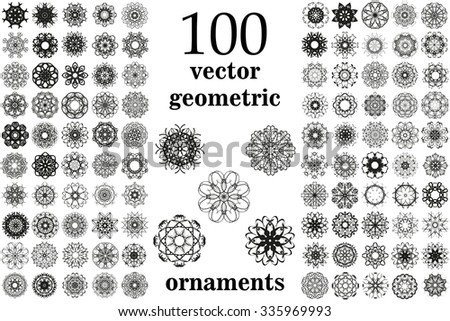 Round geometric ornaments set. 100 vector  - stock vector