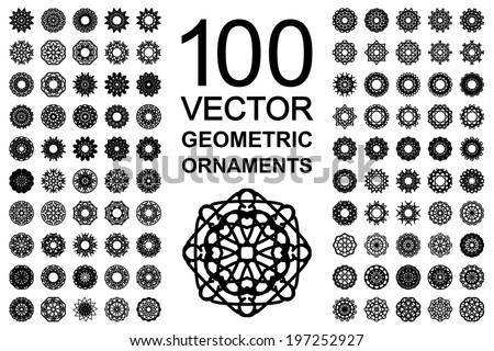 Round geometric ornaments set. 100 vector spirographs - stock vector