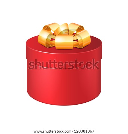 Round Gift Box Red With Golden Ribbon Bow. Vector EPS10 - stock vector
