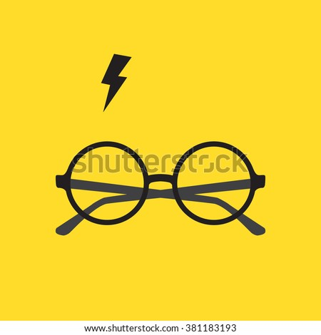 Round glasses and lighting. Vector illustration - stock vector