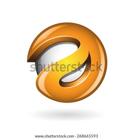 Round Glossy Letter A 3d Orange Logo Shape Vector Illustration - stock vector