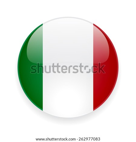 Round glossy vector icon with national flag of Italy on white background - stock vector