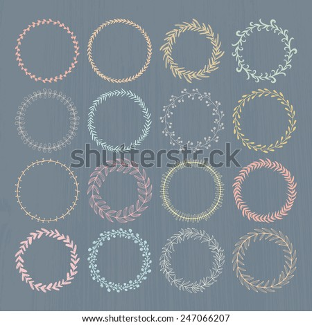 Round handdrawn wreaths on texturized vintage background. Collection of clip art vector bouquets. Romantic wreath with copyspace for your text.   - stock vector