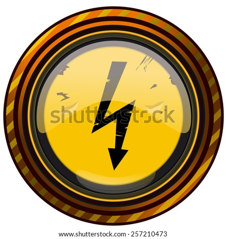 Round High Voltage Warning Sign, Vector Illustration isolated on White Background.  - stock vector