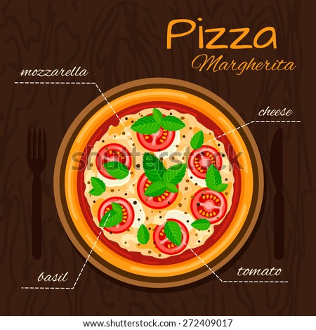 Round hot delicious tasty Margherita pizza in flat style. Vector illustration of pizza with mozzarella, basil, tomato, cheese.  - stock vector