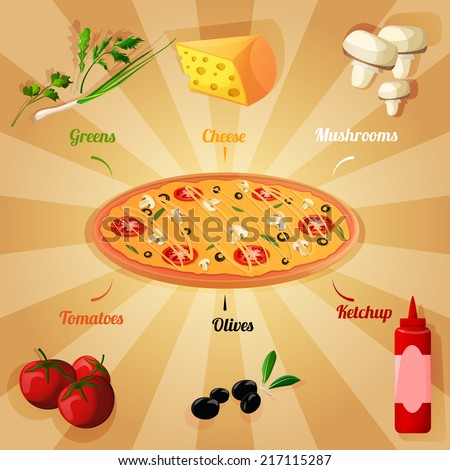 Round hot delicious tasty meat cheese olive tomato mushroom pizza poster vector illustration - stock vector